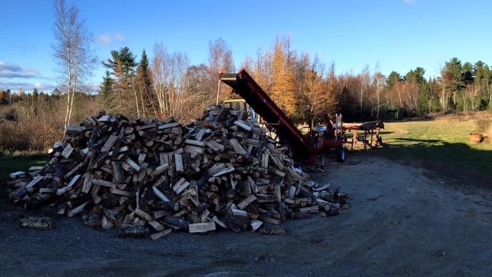 photo of conveyor belt equipment with a large pile of cut firewood